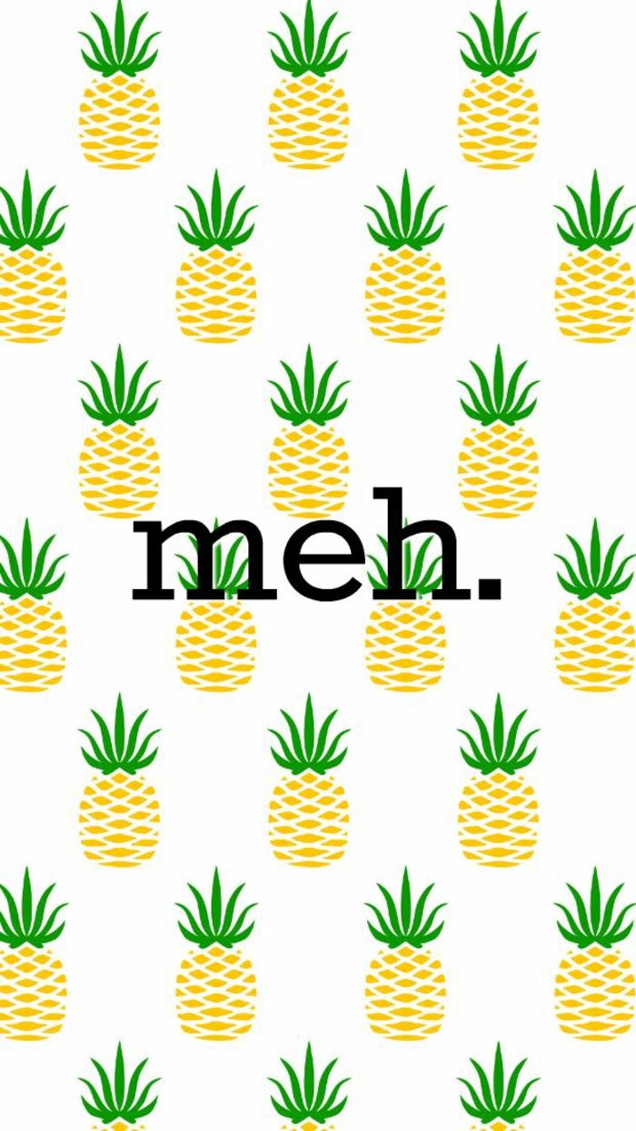 Disegni di ananas, scritta meh in inglese, immagini sfondo