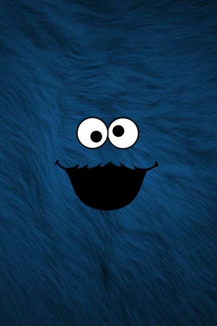Animaletto blu pelliccioso, sfondi belli per iphone, animaletto con occhi e bocca