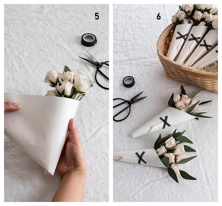 Regali per la mamma, come fare un bouquet, fiori di colore bianco