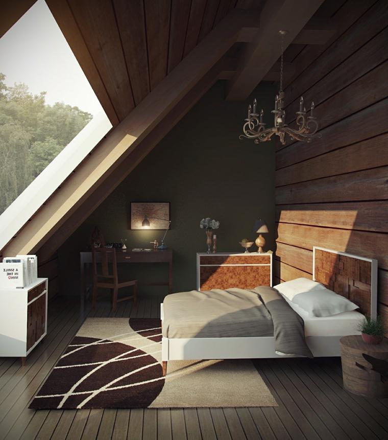 Camera da letto con mobili di legno, sottotetto con finestra, soffitto in legno