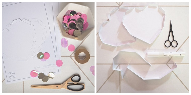 Tutorial per fare una scatola. scatola a forma di cuore, decorazione con confetti rosa