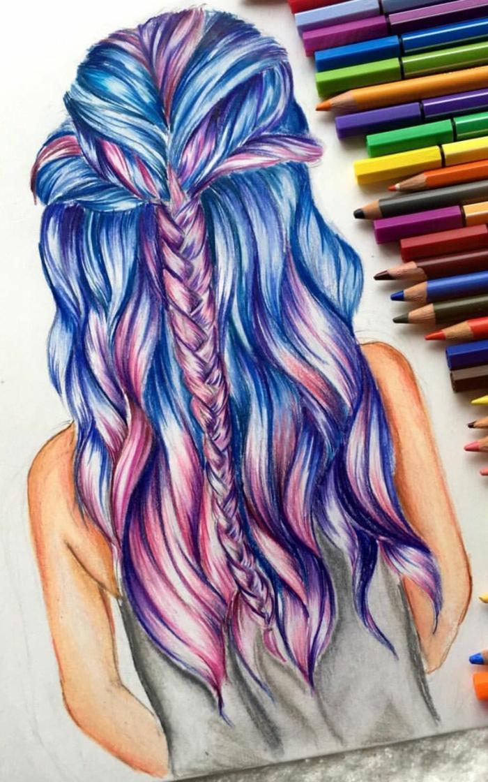 Capelli colorati, disegno con matite colate, acconciatura con treccia