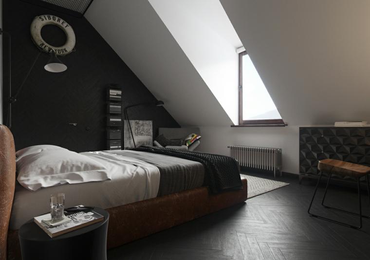 Camera da letto in mansarda bassa, letto di pelle marrone, soffitto in pendenza