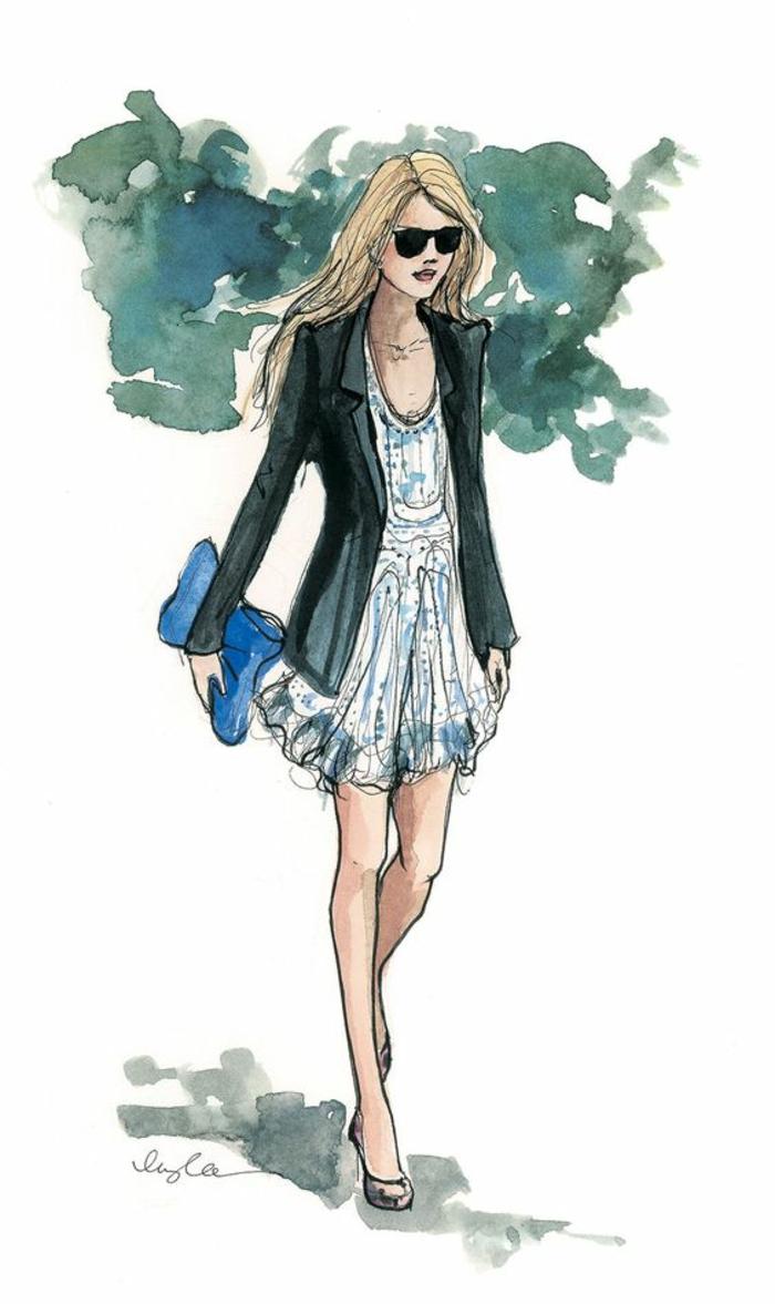 Disegno colorato con acquarelli, disegno di una ragazza