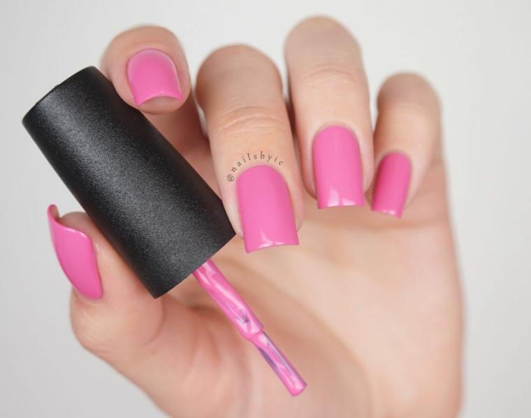 Pennello smalto rosa, smalto di colore rosa, unghie donna forma squadrata
