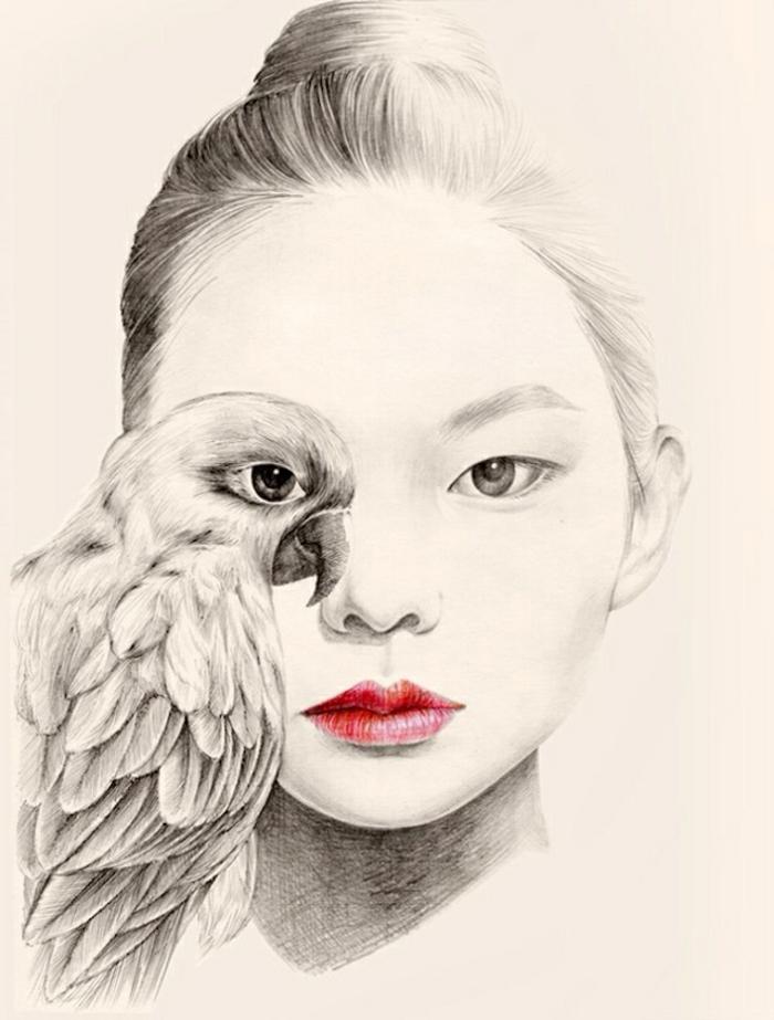 Ritratto di una donna, disegno viso donna, disegno di un pappagallo