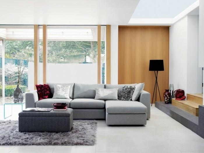 Mobili soggiorno moderni, parete salotto di legno, divano con isola