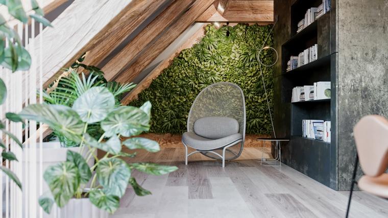 Camera da letto in mansarda bassa, giardino verticale con piante verdi, mensole con libri