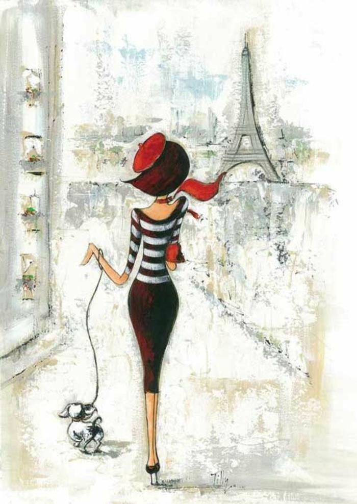 Ragazza con cane, disegno a matita, disegno della Torre Eiffel