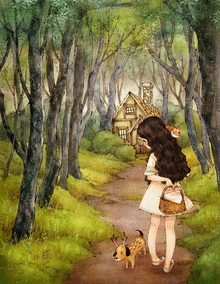 Disegno colorato di una bambina, bambina con cane, disegno colorato