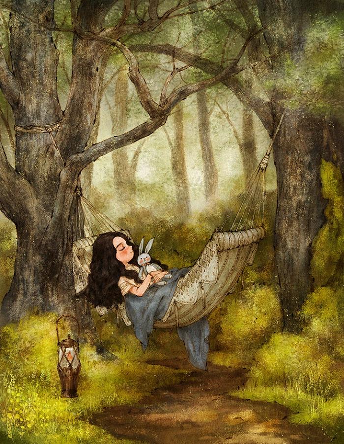 Una bambina con peluche, disegno colorato di una foresta