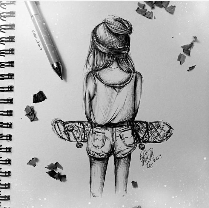 Quaderno ad anelli, disegno di ragazza, ragazza con skateboard