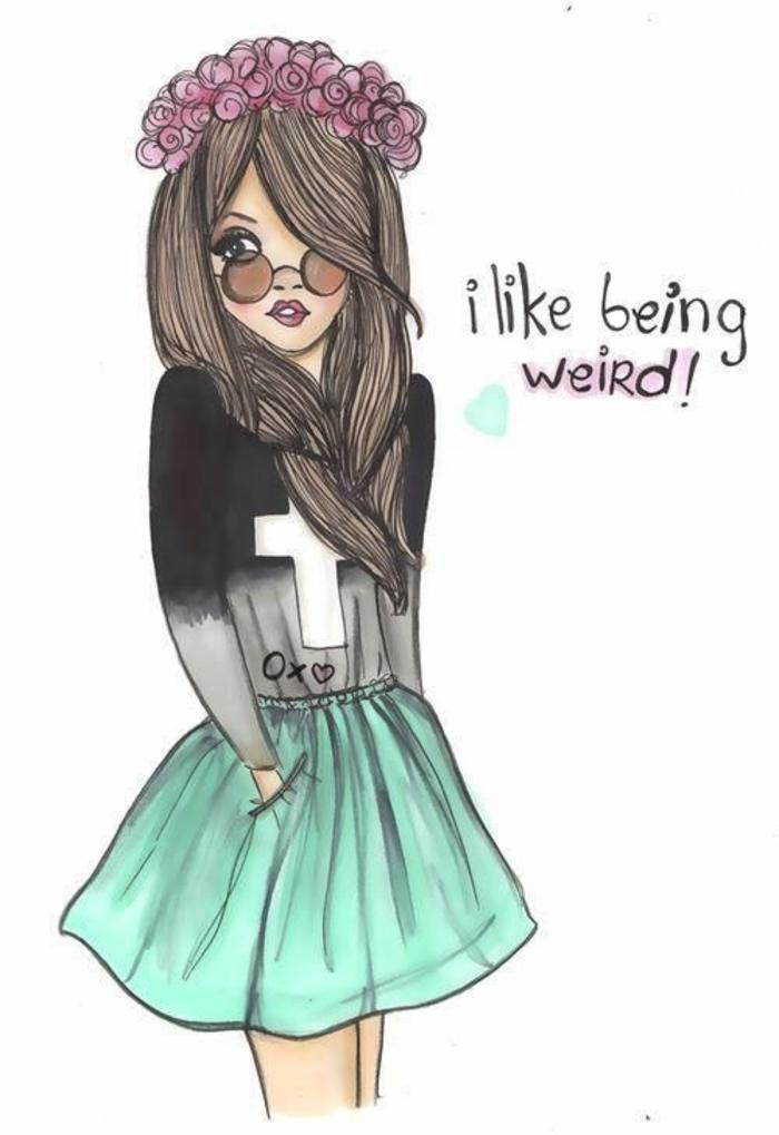 Disegno di una ragazza, disegno colorato, scritta in inglese