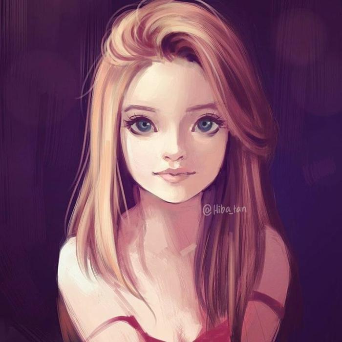 Disegno di una ragazza, ritratto con matite colorate, ragazza con occhi blu