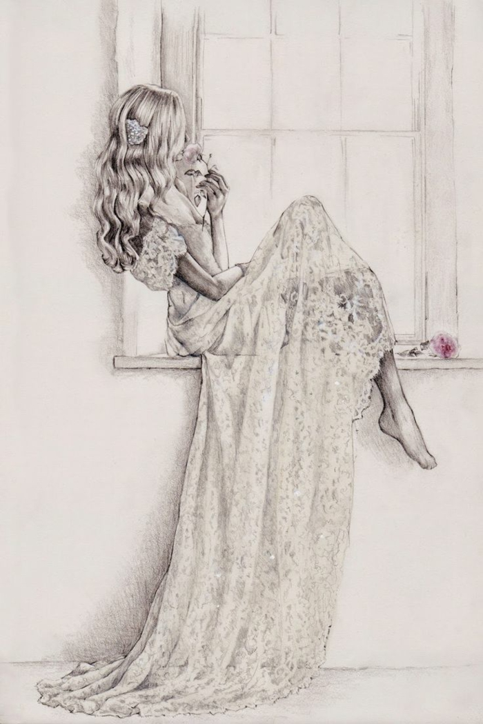 Donna con abito lungo, ragazza seduta sulla finestra, disegno a matita
