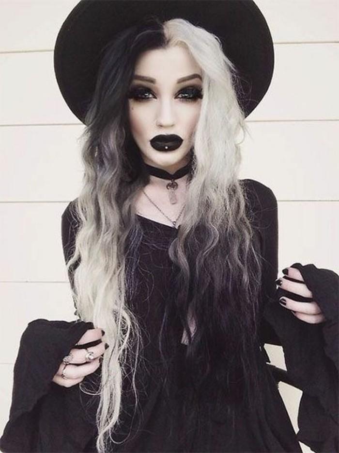 Costumi halloween fai da te, ragazza con capelli biondi, ragazza travestita da strega