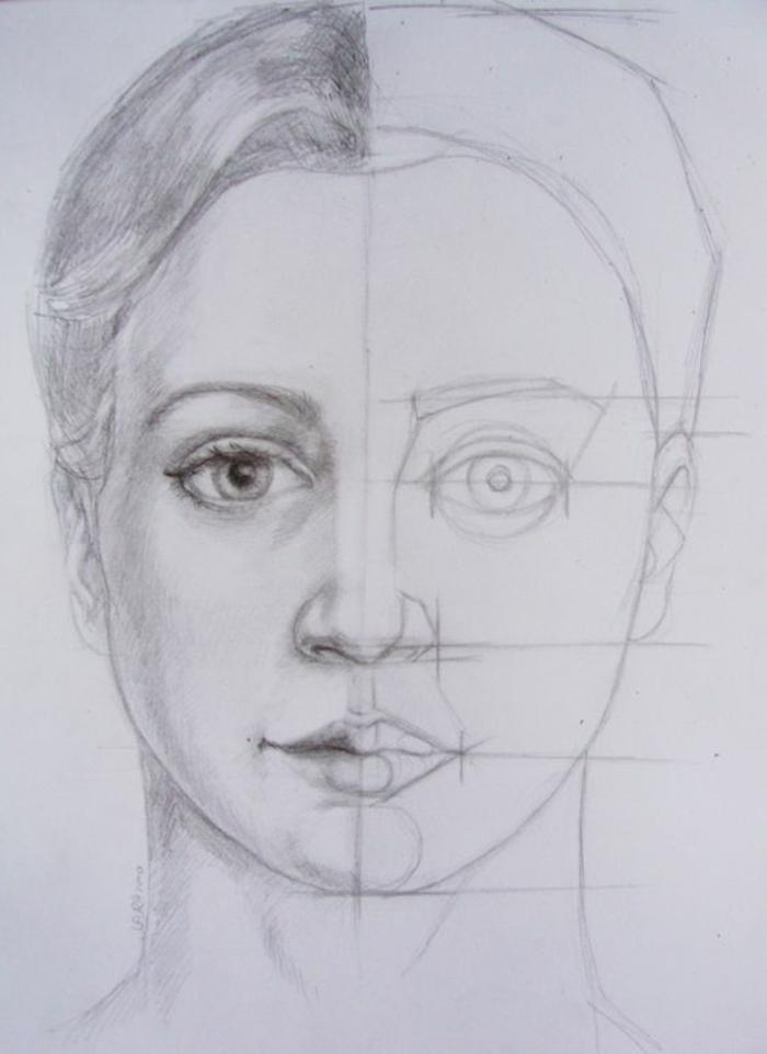 Ritratto di una donna, disegno con matite, viso di una donna
