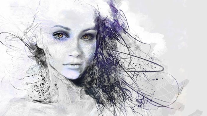 Disegno di una donna, rappresentazione con matite, schizzi di colore