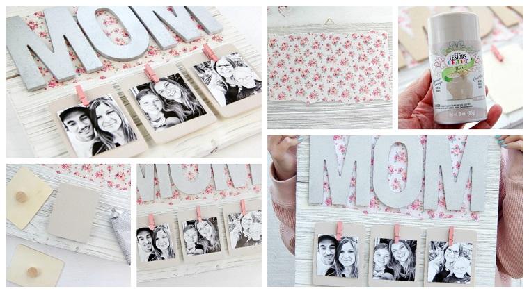 Regalo per la festa della mamma, fotografie appese, scritta Mom in legno
