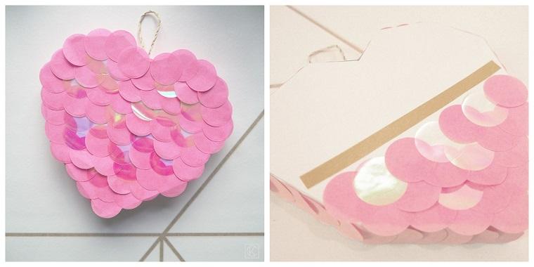 Regali fai da te, scatola a forma di cuore, scatola decorata con confetti rosa