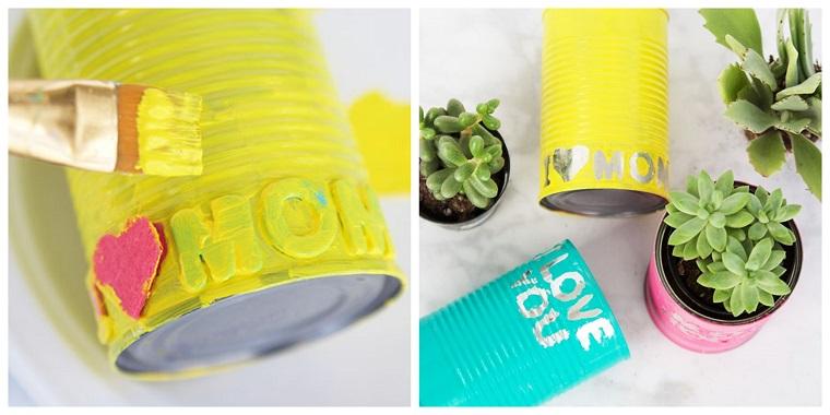 Idee regalo mamma, barattolo di latta dipinto, pennello con vernice gialla