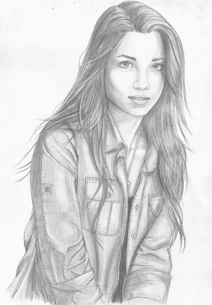 Ragazza con capelli lunghi, disegno a matita, ritratto viso donna