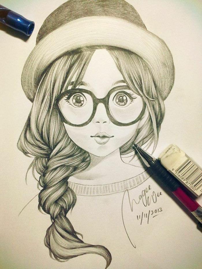 Ragazza con capelli, ritratto di una donna, ragazza con capello, disegno a matita