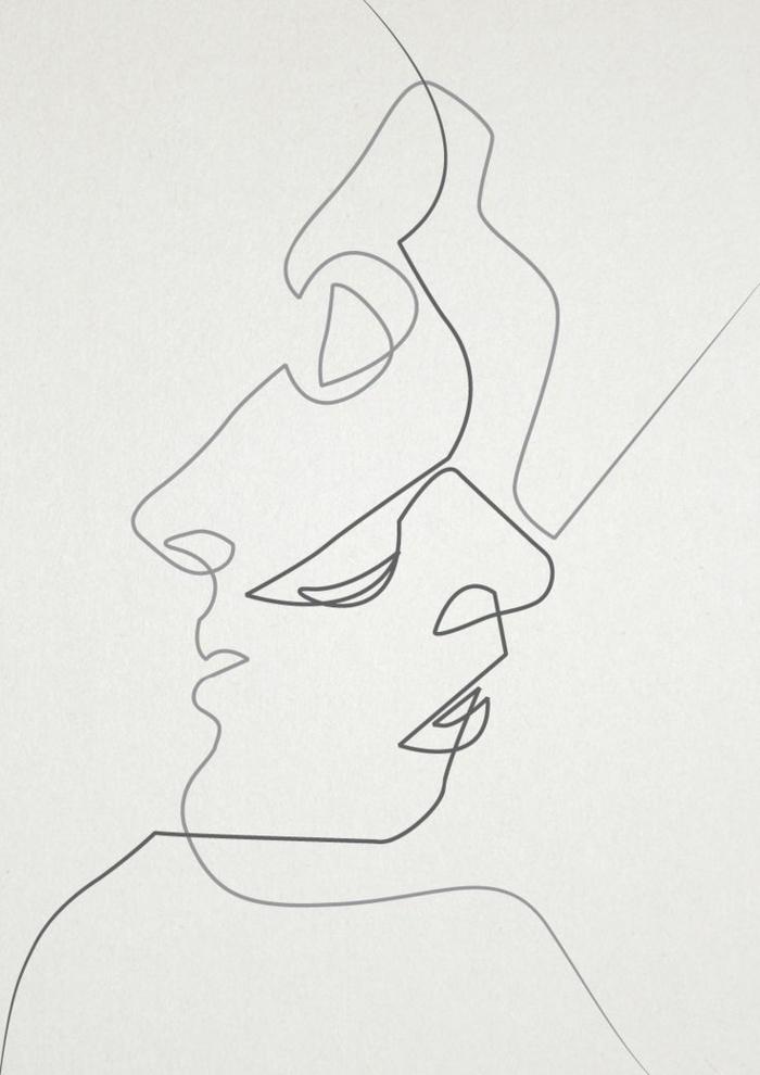 Rappresentazione grafica di facce, disegno viso uomo donna