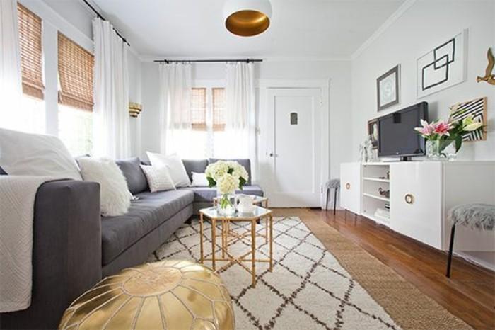 Idee per interni casa, salotto con tavolino, mobile bianco da soggiorno