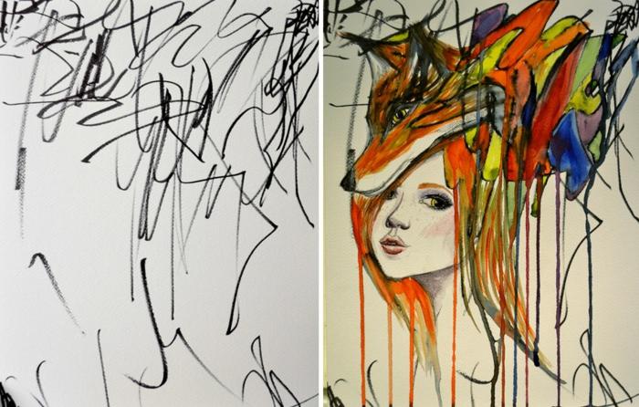 Foglio bianco con scarabocchi, disegno colorato donna, disegno di una volpe
