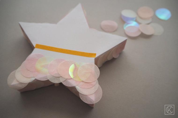 Cosa regalare per la festa della mamma, scatola a forma di stella, scatola decorata con confetti