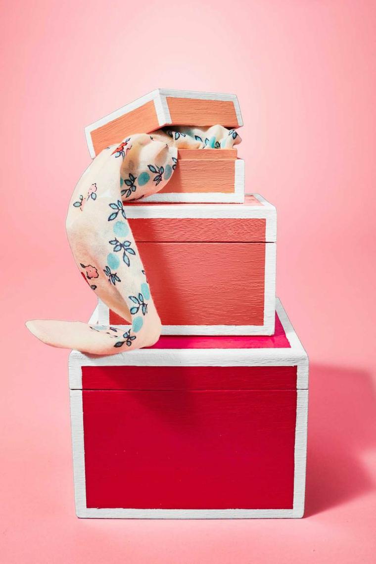 Regali fai da te, scatole di legno, scatole dipinte a mano, scatola con foulard