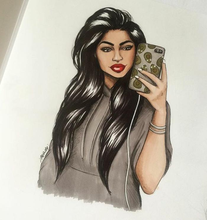 Disegno di ragazza, ragazza con telefono in mano, disegno colorato