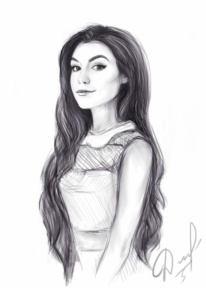 Ragazza con capelli lunghi, disegno a matita, ritratto firmato