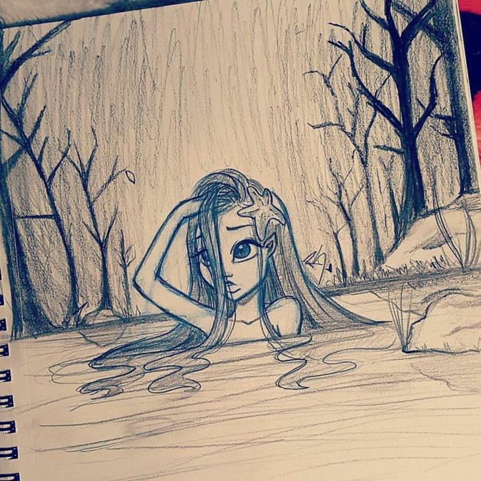 Quaderno ad anelli, disegno con le matite, disegno di una ragazza