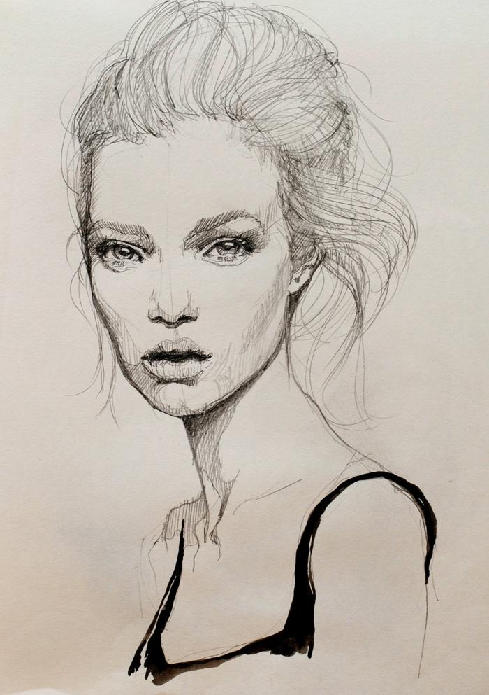 Ritratto con la matita, disegno di una ragazza, capelli disegnati con matita