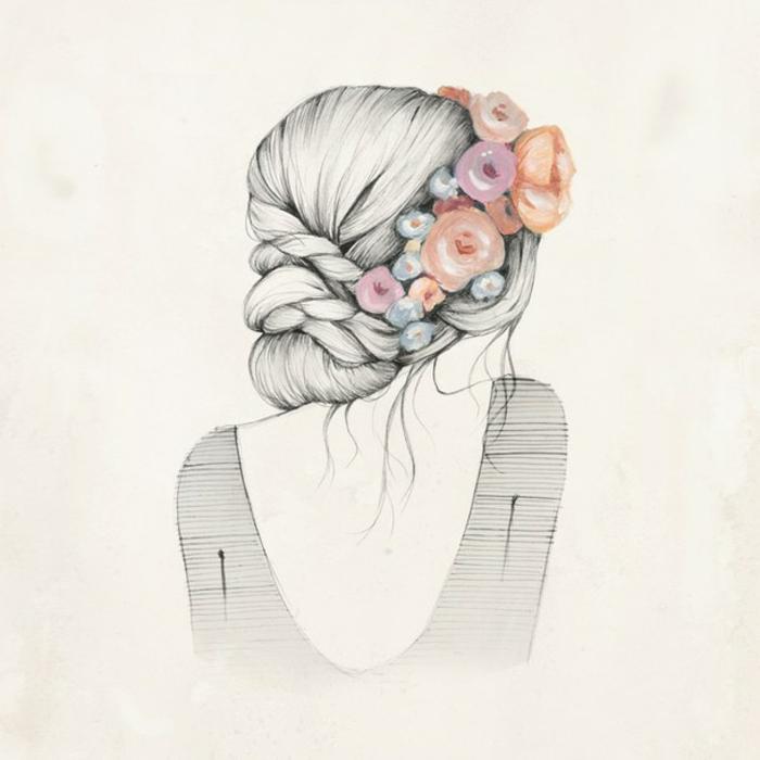 Acconciatura con treccia, disegno a matita di una ragazza, fiori nei capelli