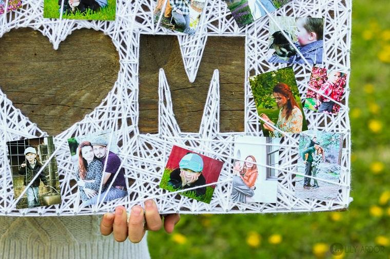 Idee regalo festa della mamma economiche, scritta Mom in inglese, fotografie della famiglia