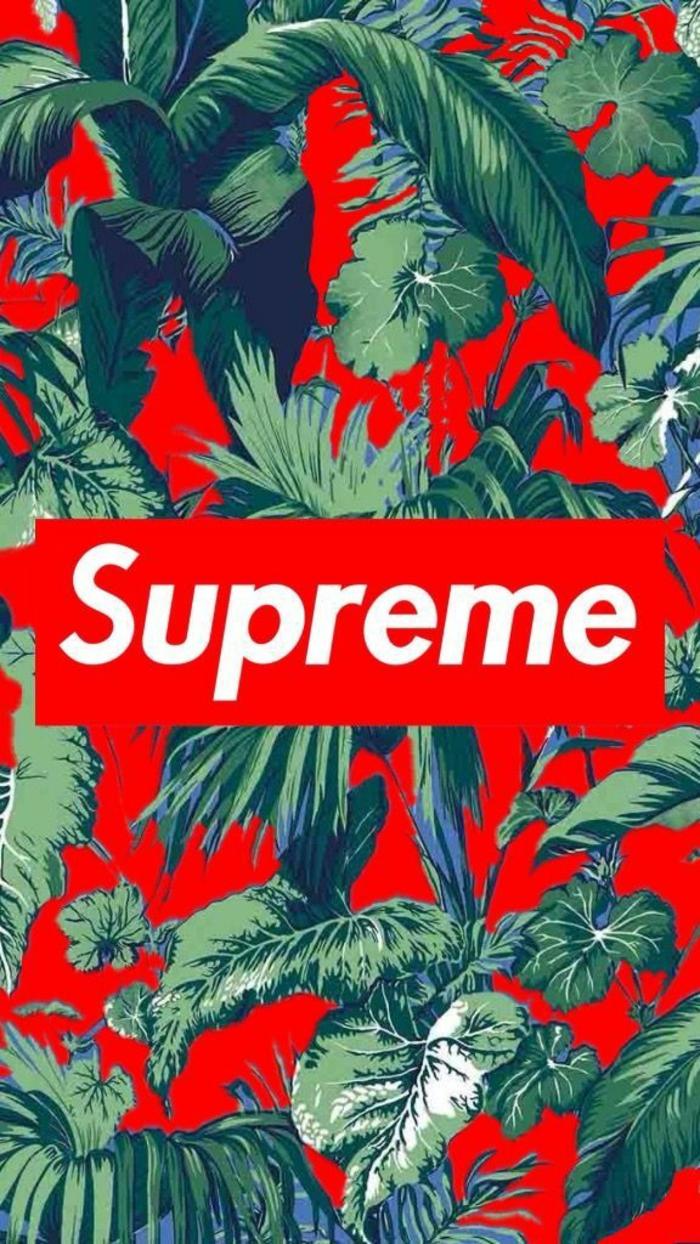 Scritta Supreme, disegno di palme, foto per schermo telefono
