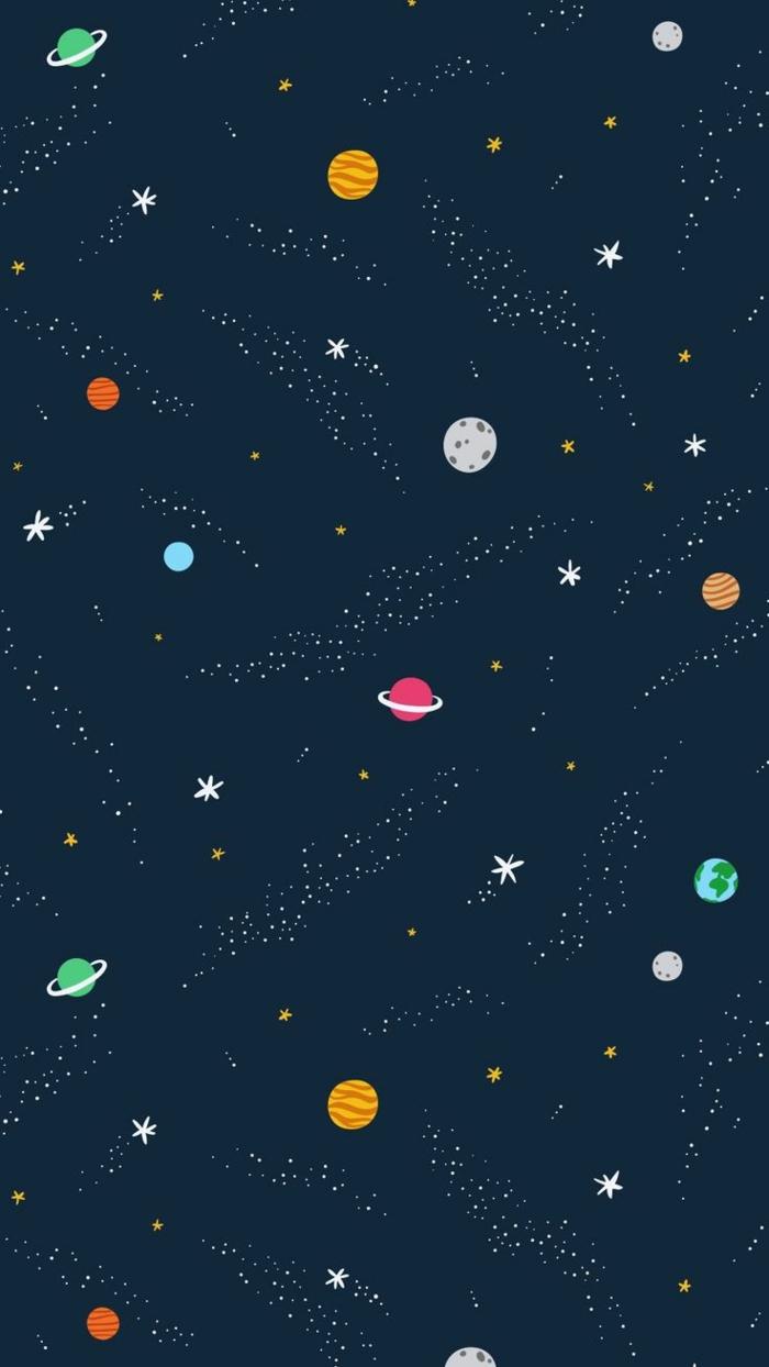 Foto sfondi, disegno colorato di una galassia, galassia con pianeti, galassia con stelle