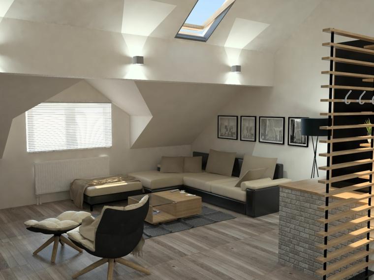 Mansarda con soggiorno, come arredare una mansarda, mansarda con pavimento di legno