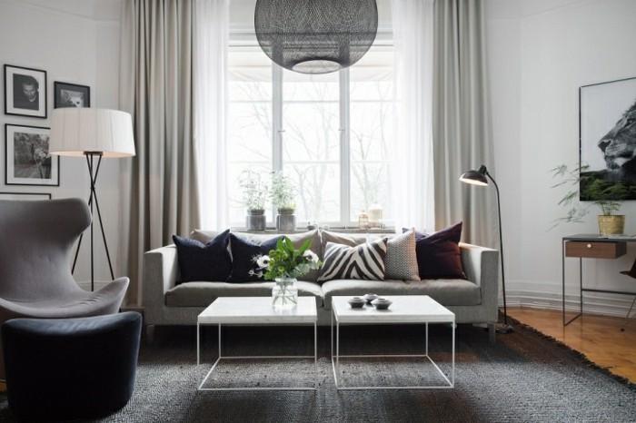 Idee per interni casa, arredamento soggiorno, divano due posti grigio