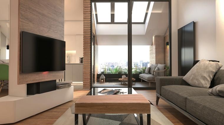 Arredare mansarda, mansarda con soggiorno, salotto con divano grigio