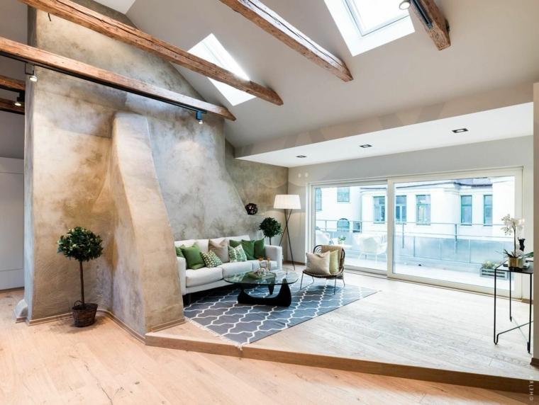 Cucina in mansarda, mansarda open space, soffitto con travi di legno, mansarda con soggiorno