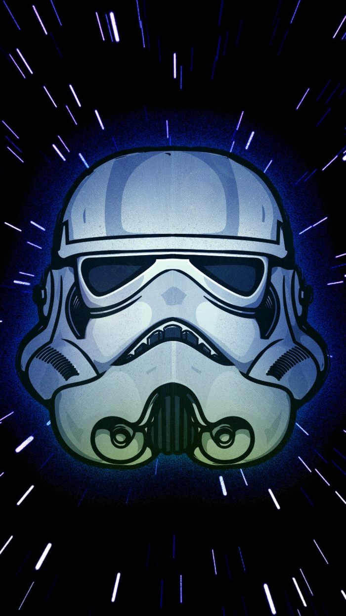 Disegno colorato di Stars Wars, la maschera di Stormtrooper, disegno per iphone
