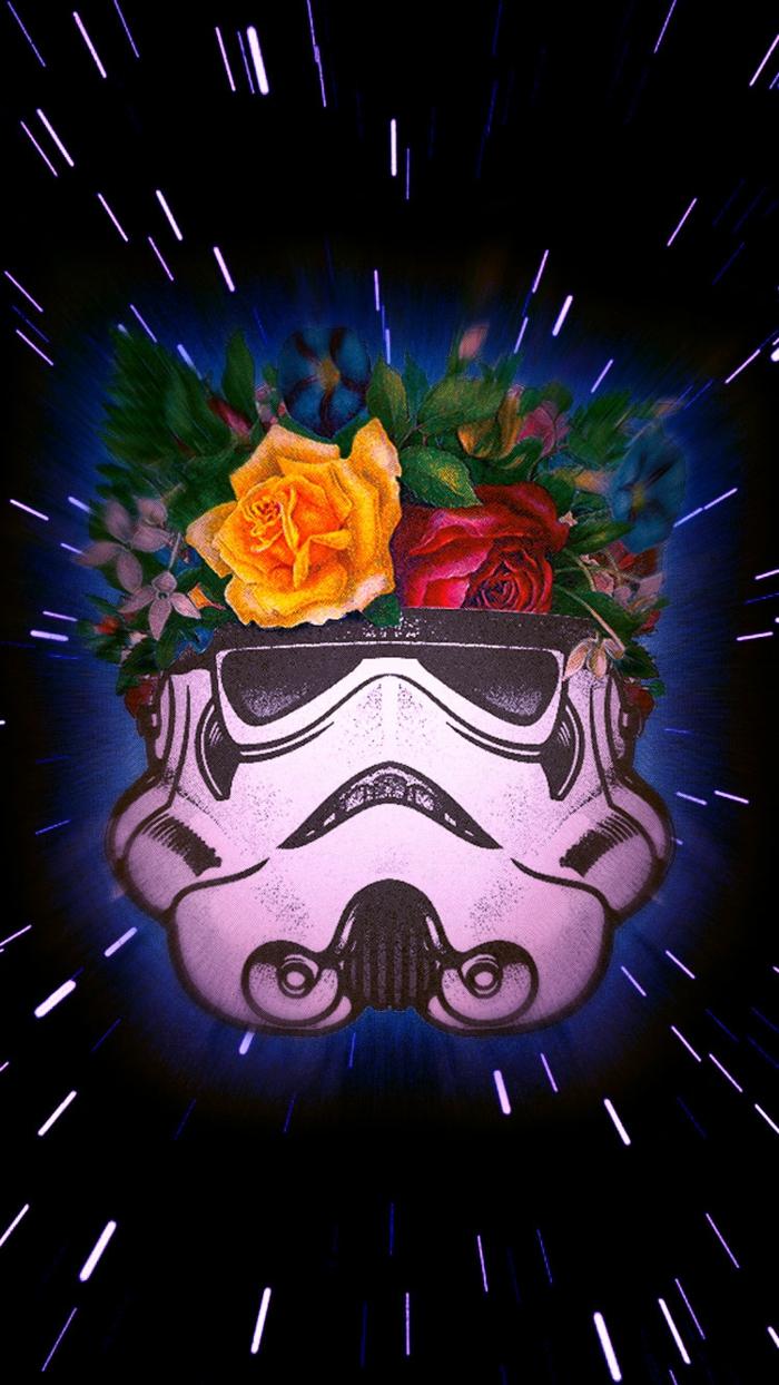 Disegno con fiori, la maschera di Stormtrooper, foto per schermo telefono