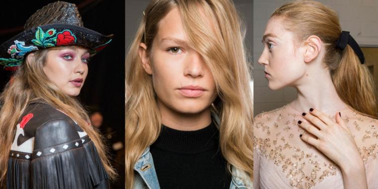 Modelle con capelli biondi, colore capelli 2019, colorazione chioma di biondo