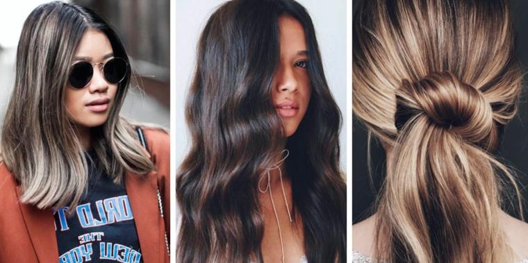 Tre acconciature per capelli castani, tendenze capelli 2019