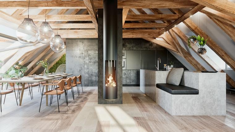 Arredamento per mansarde, open space con tavolo da pranzo, camino centrale di colore nero