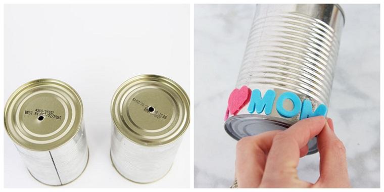 Tutorial per decorare un barattolo di latta, regali per la mamma, lettere incollate al barattolo